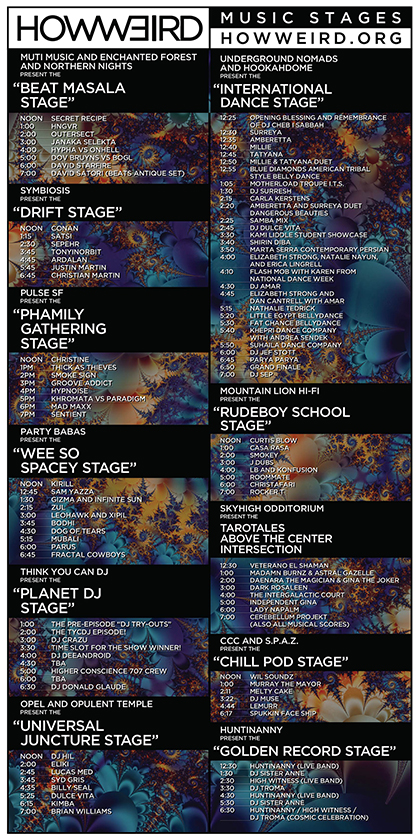 How Weird 2016 Stage Schedule