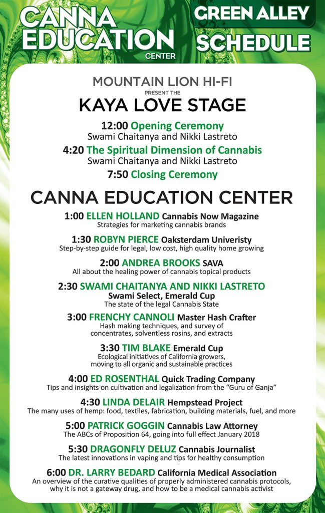 Canna Education Tent schedule