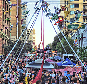 Aerialist over the center intersection of How Weird 2016